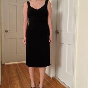 Laundry by Shelli Segal ruched black midi dress